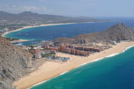 aerial view of finisterra, playa grande and solmar in cabo san lucas mexico